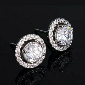 Round Cubic Zirconia Stud Earrings PRICE FIRM